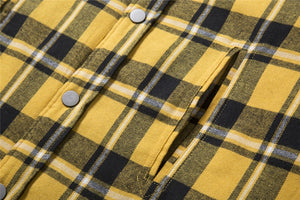 Oversized Plaid Pocket Shirt - Yellow - Insurgence Wear - Affordable Streetwear Essentials
