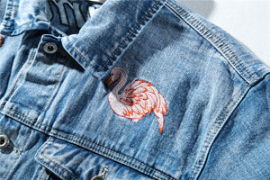 Flame-mingo Embroidered Denim Jacket - Insurgence Wear - Affordable Streetwear Essentials