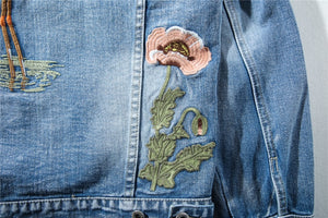 Flame-mingo Embroidered Denim Jacket - Quality Affordable Streetwear