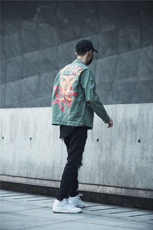 Additive Ripped Denim Jacket - Blue - Insurgence Wear - Affordable Streetwear Essentials