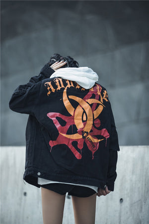 Additive Ripped Denim Jacket - Black - Insurgence Wear - Affordable Streetwear Essentials