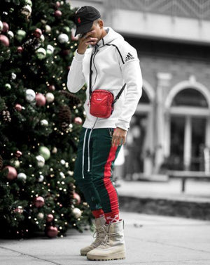 Retro Trackpants S1 - Green / Red - Premium Quality & Affordable Streetwear