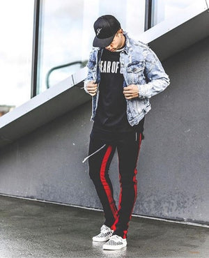 Retro Trackpants S2 - Black double Red - Insurgence Wear - Affordable Streetwear Essentials