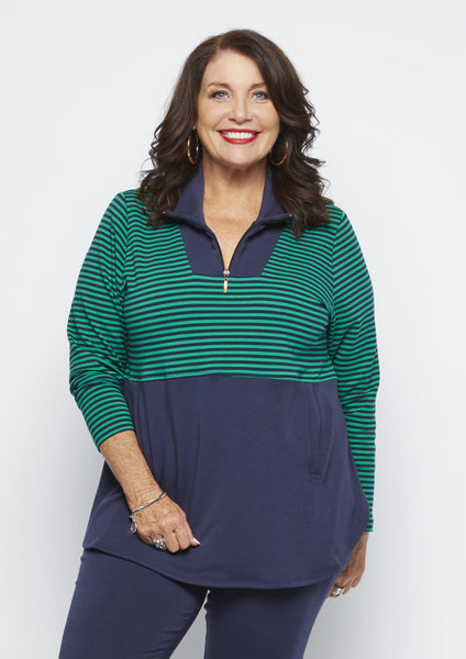 Zip Fleece Stripe Top