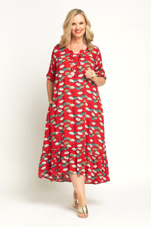 77048 RED FAN DRESS