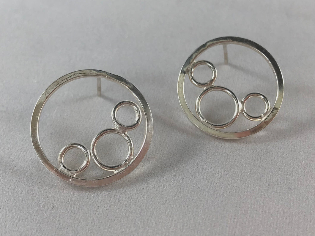 Circle Post Bubble Earrings