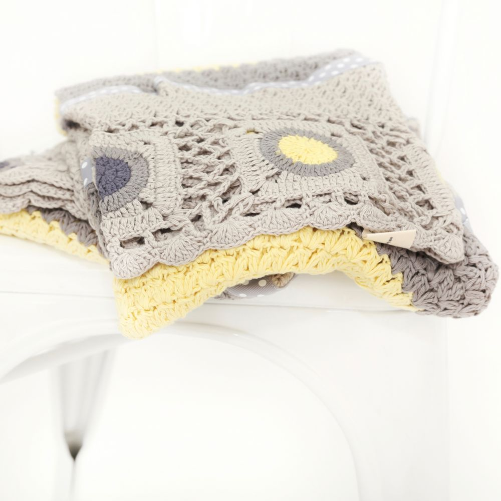 And The Little Dog Laughed Dusty Grey and Mustard Hand Crochet Blanket