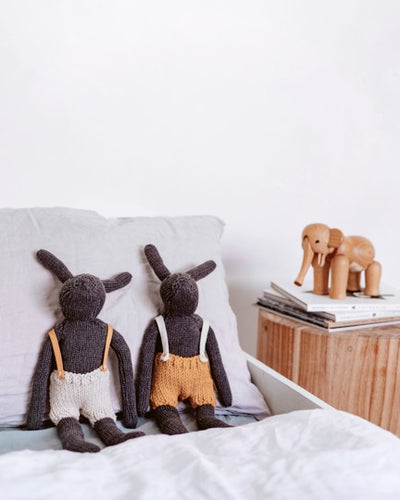 And The Little Dog Laughed - Hand Knitted 'Rupert' Rabbit Merino Wool Overalls