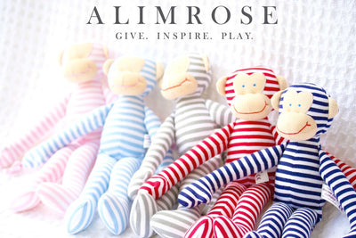 Alimrose Monkey Rattle - Pink Stripe 30cm