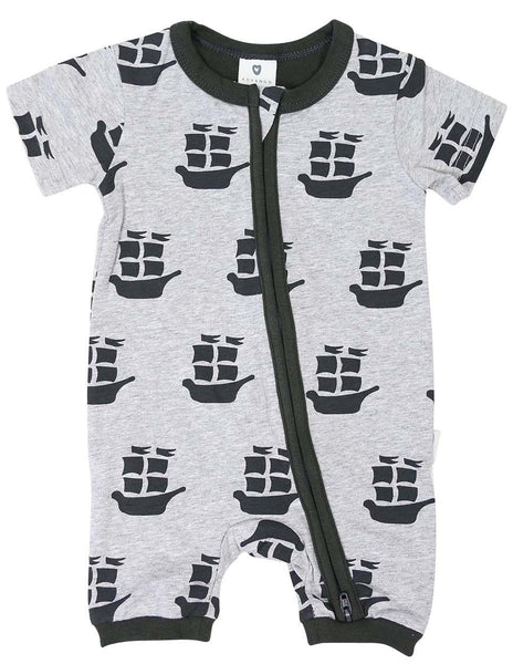 KORANGO Pirate Ships Zip Short Sleeve Romper in C