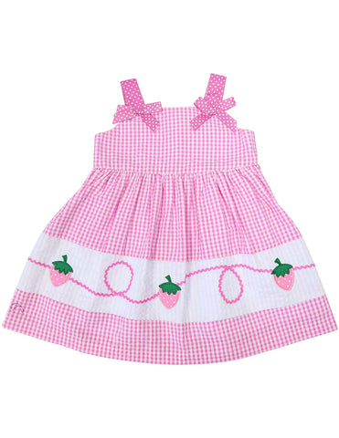KORANGO Seersucker Strawberry Dress in Pink