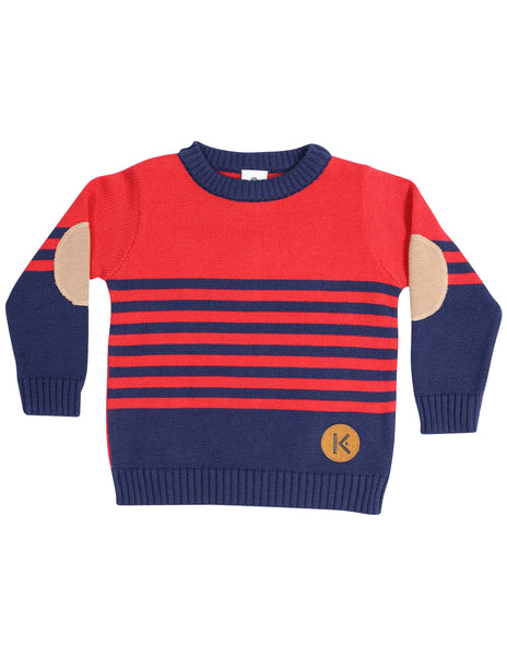 KORANGO Dragon Knit Sweater in Red N Navy