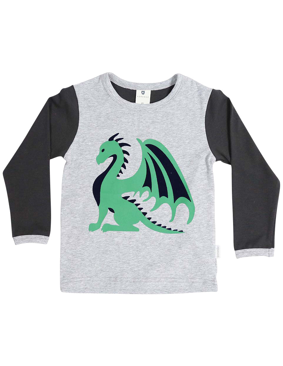 KORANGO Dragon Long Sleeve Dragon Print Tee in Charcoal