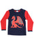 KORANGO Dragon Long Sleeve Dragon Print Tee in Red N Navy
