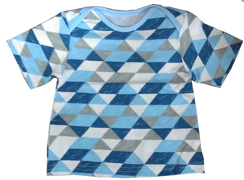 And The Little Dog Laughed Blue Geometric Tshirt