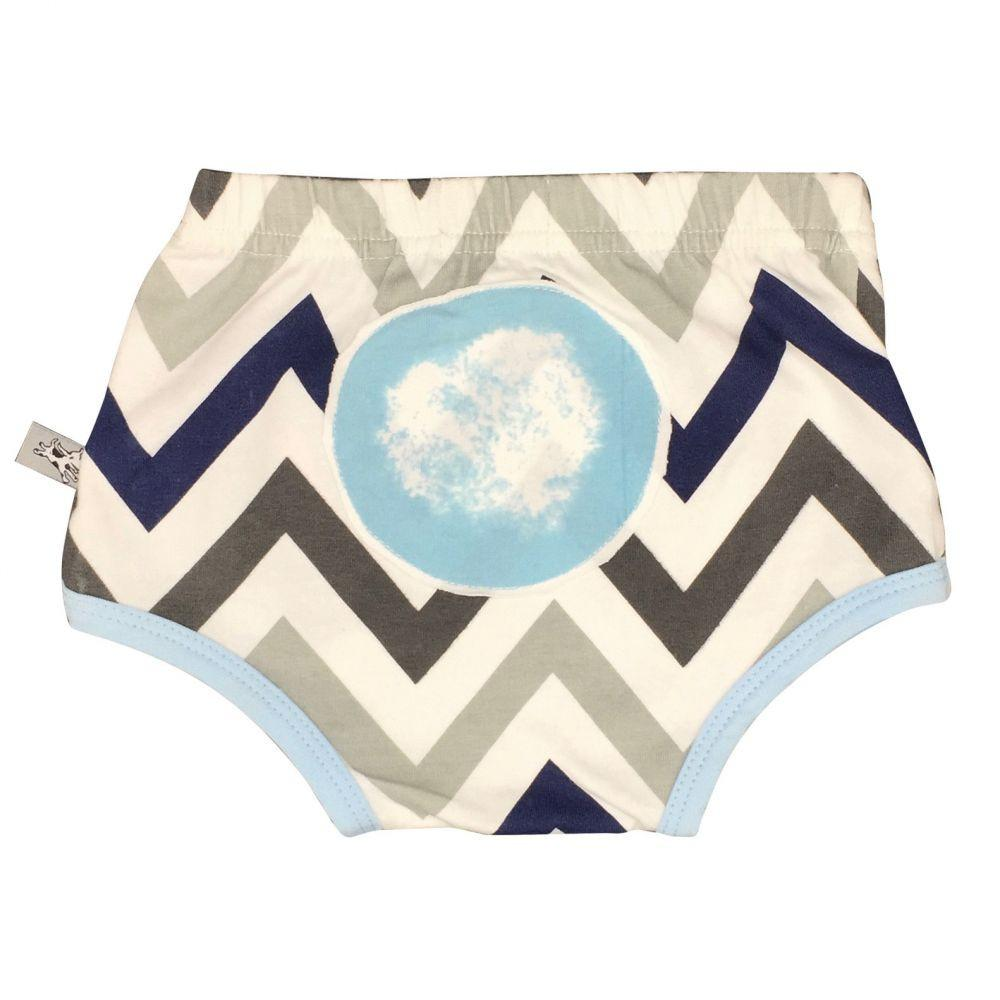 And The Little Dog Laughed - Chevron Blue Nappy Cover