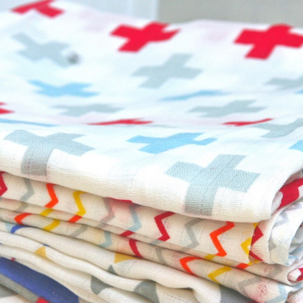 And The Little Dog Laughed Crosses & Zigzag Muslin Wrap - Twin Pack