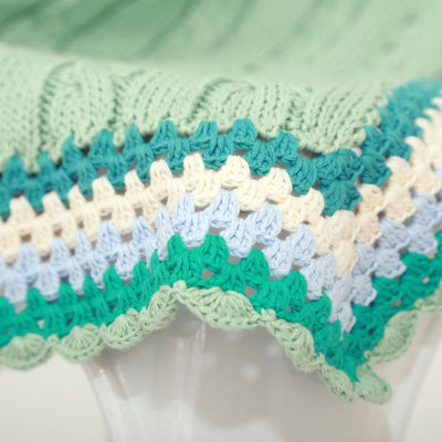 And The Little Dog Laughed - Hand Knitted Mint Green Cable Blanket