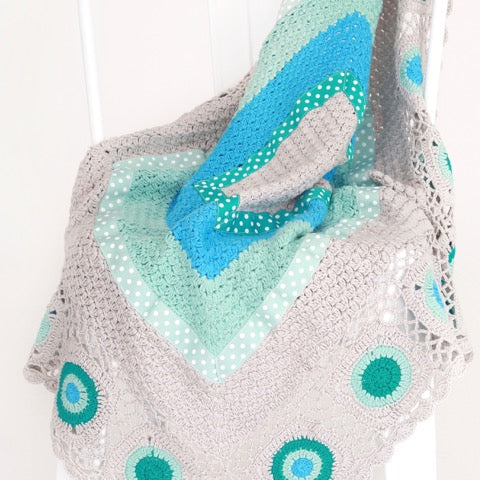 Mint & Grey hand crochet blanket