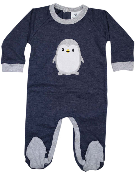 3fafe09281bf92 KORANGO Baby Penguin Long Sleeve Romper in Navy Marle