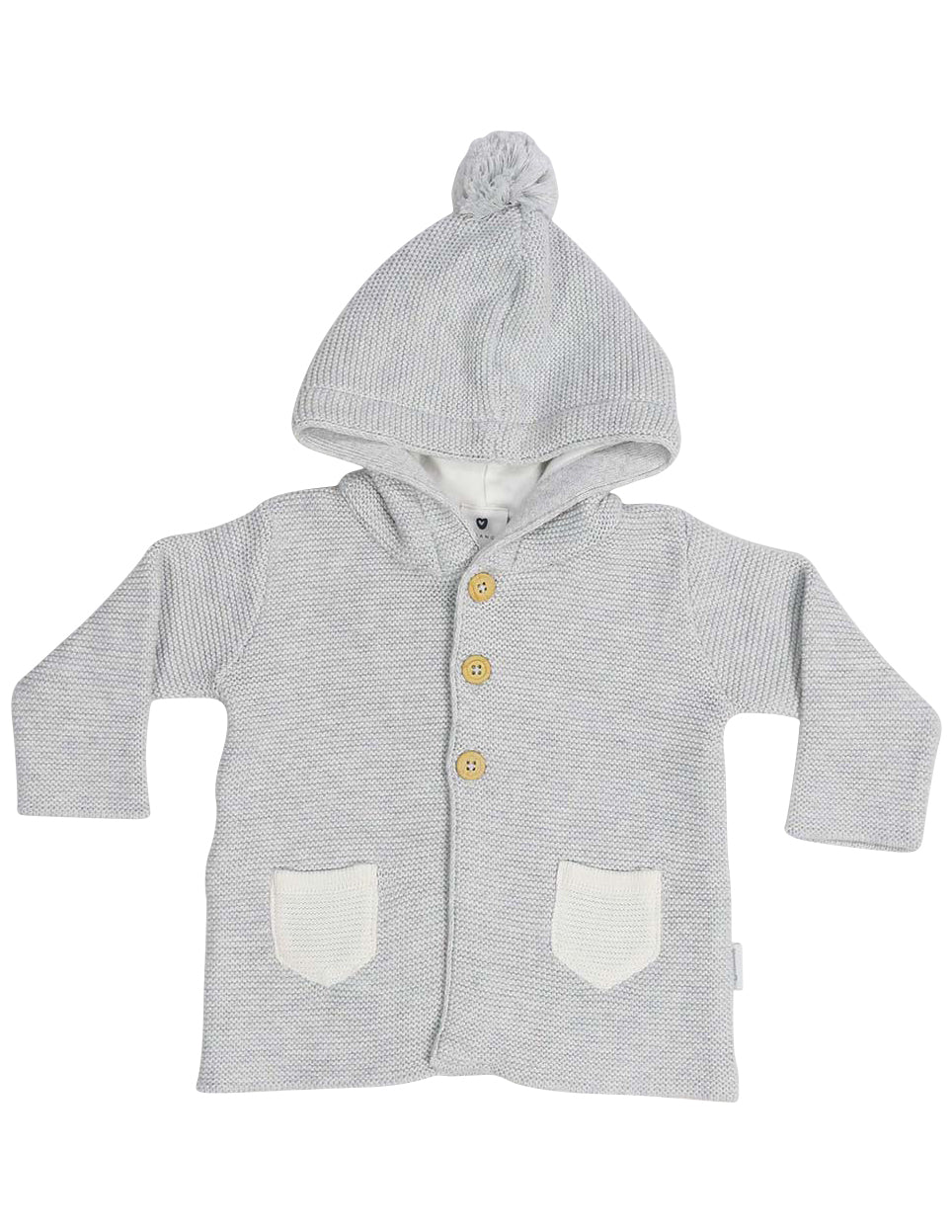 KORANGO Baa Baa White Sheep Hooded Knit Jacket with Contrast Pocket in Grey