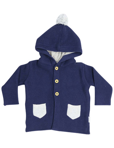 KORANGO Baa Baa White Sheep Hooded Knit Jacket with Contrast Pocket in Navy