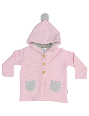 KORANGO Baa Baa White Sheep Hooded Knit Jacket with Contrast Pocket in Pink