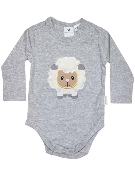 51fe762c89c396 KORANGO Baa Baa White Sheep Bodysuit with Applique in Grey