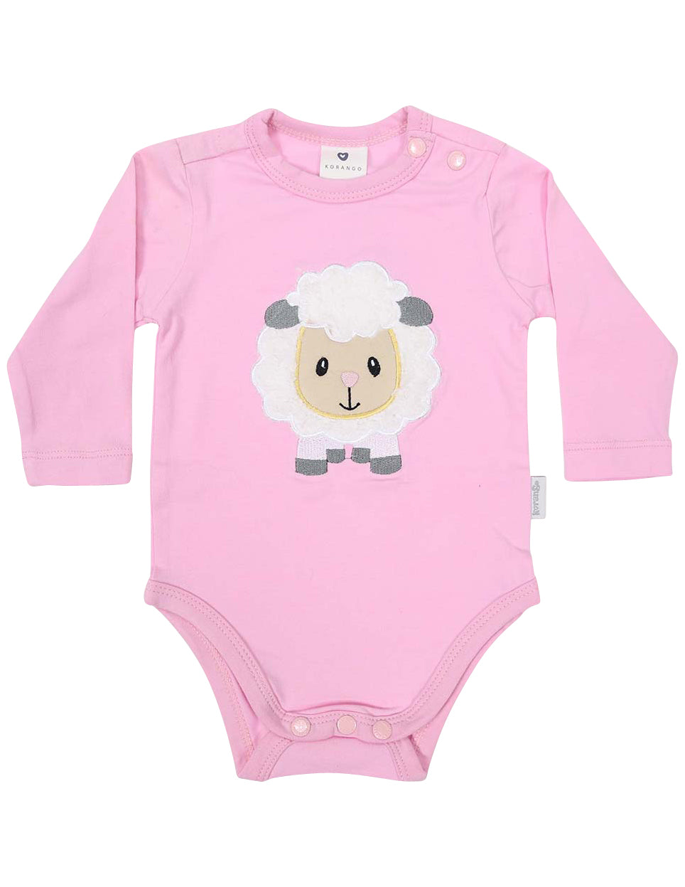 KORANGO Baa Baa White Sheep Bodysuit with Applique in Pink