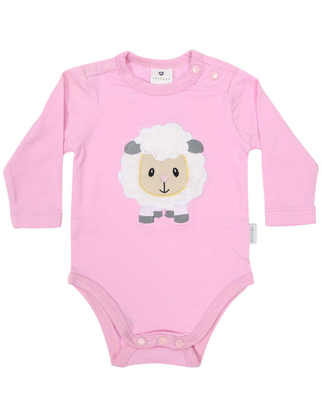 4a33534f90d8de KORANGO Baa Baa White Sheep Bodysuit with Applique in Pink