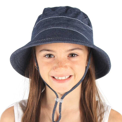 BEDHEAD  Baby's First Bucket Hat with Strap - Denim