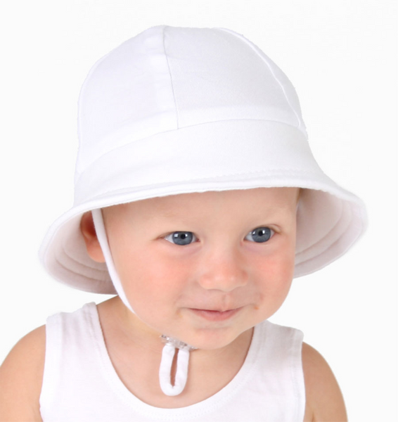 Baby s First Bucket Hat with strap - White – Dream Children s Wear 3c3a9c5a21a