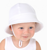 Baby's First Bucket Hat with strap - White