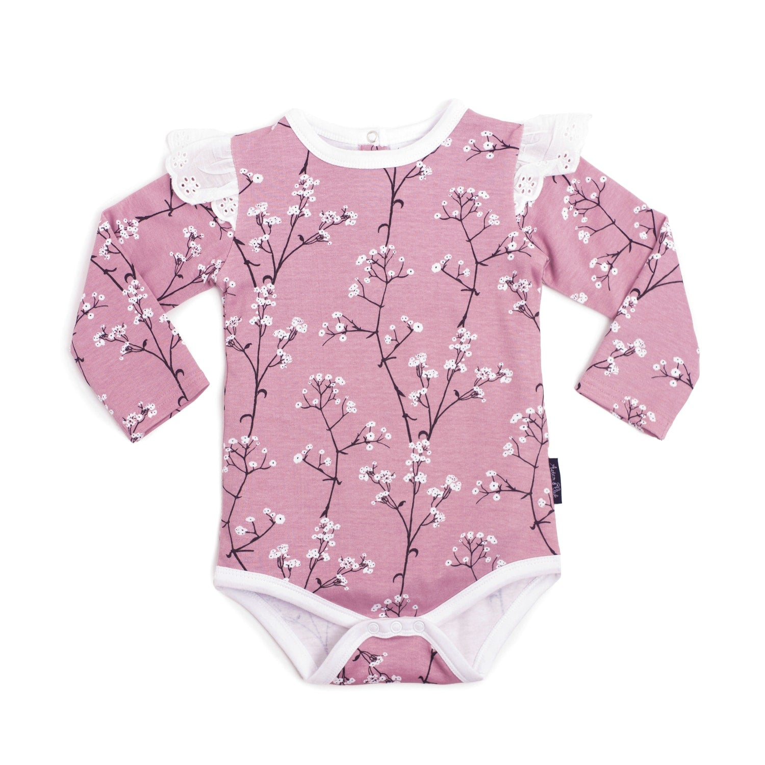 Aster & Oak Organic MAGICAL GARDEN Baby's Breath AOP Flutter Onesie