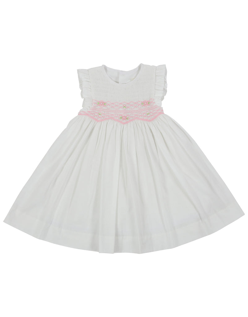 Sweet Style Sleeveless Smocked Dress - White