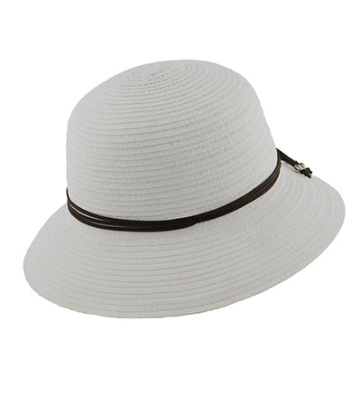 Millymook Girls Wide Brim Hat Mahala (White, Pink)