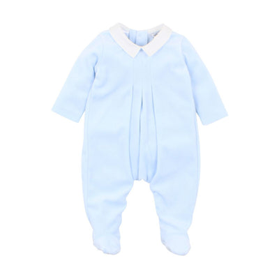 BÉBÉ by MINIHAHA - VELOUR Blue Romper with Collar