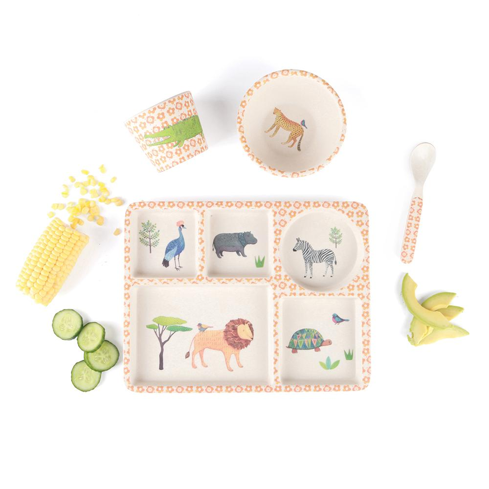 LOVE MAE Bamboo 5pc Divided Plate Set - On Safari