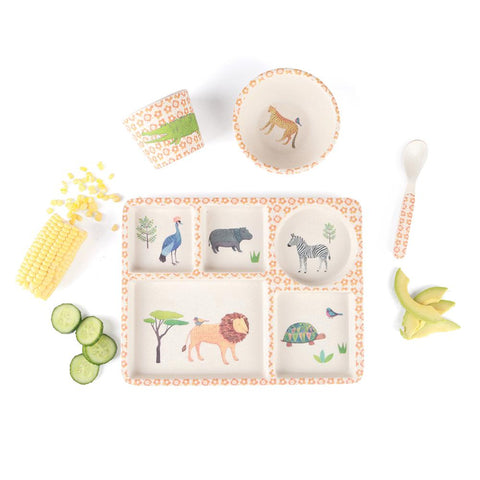 Bamboo 5pc Divided Plate Set - On Safari
