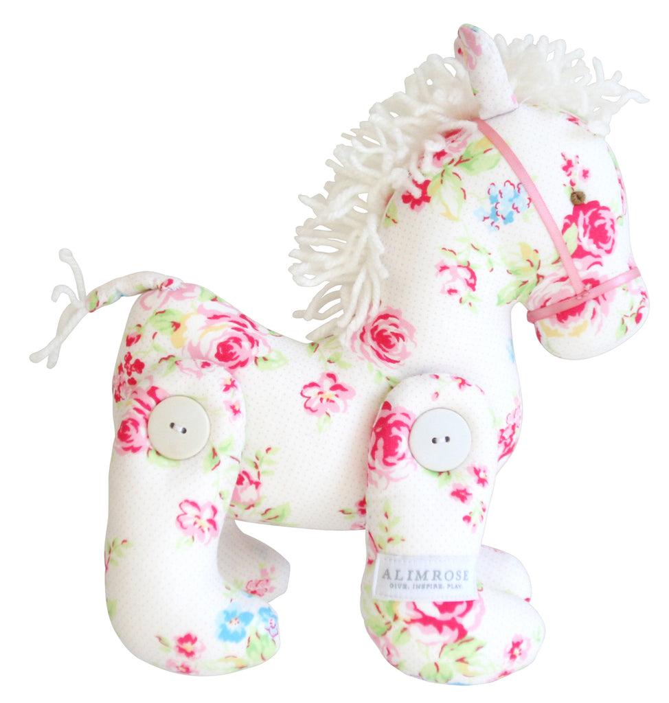 Jointed Pony 22cm White Floral
