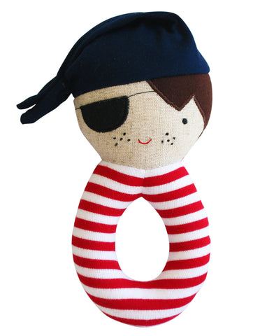 Alimrose Linen Pirate Grab Rattle Navy & Red