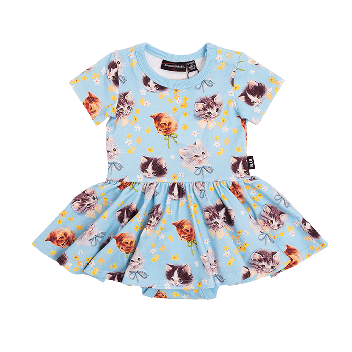 Rock Your Baby BLUE KITTENS GALORE Short Sleeves Waisted Dress