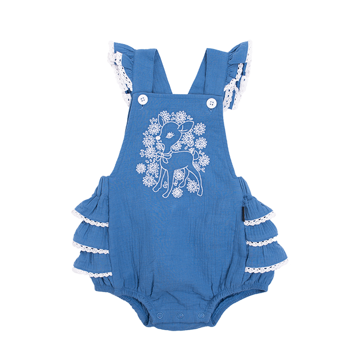 Rock Your Baby BLUE LITTLE DEER Frill Romper