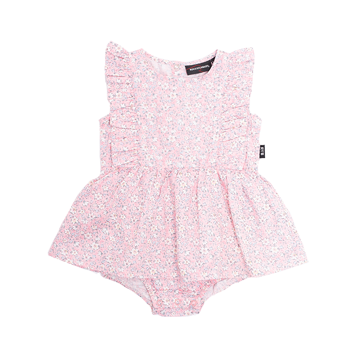 Rock Your Baby PINK SUMMER FLOWERS Short Sleeves Florrie Dress