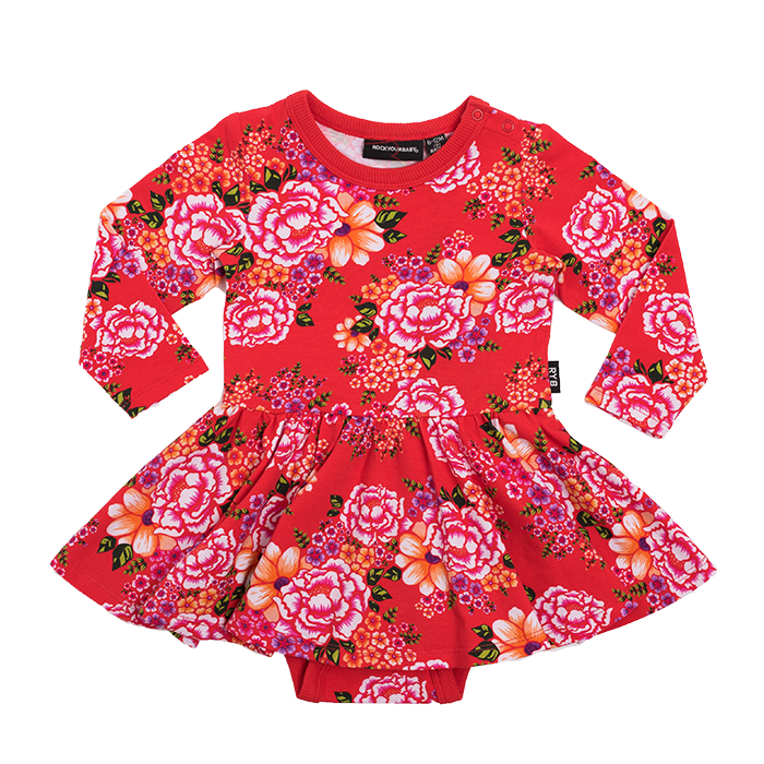 Rock Your Baby Long Sleeve TOKYO JOE Waisted Dress