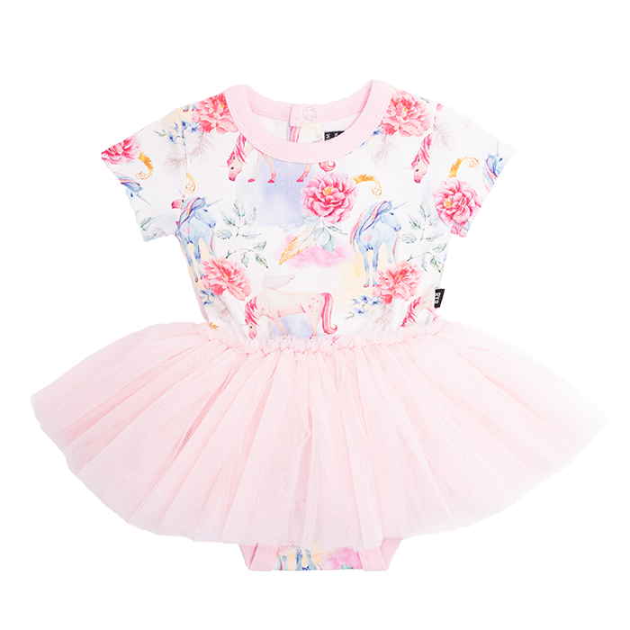 Rock Your Baby CREAM UNICORN DREAMS Short Sleeves Circus Dress