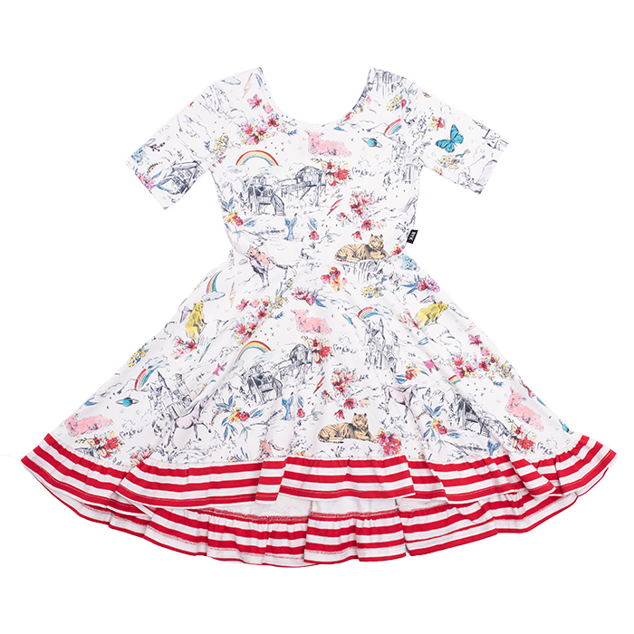 Rock Your Kid CREAM LITTLE AND FIERCE Waisted Frill Dress