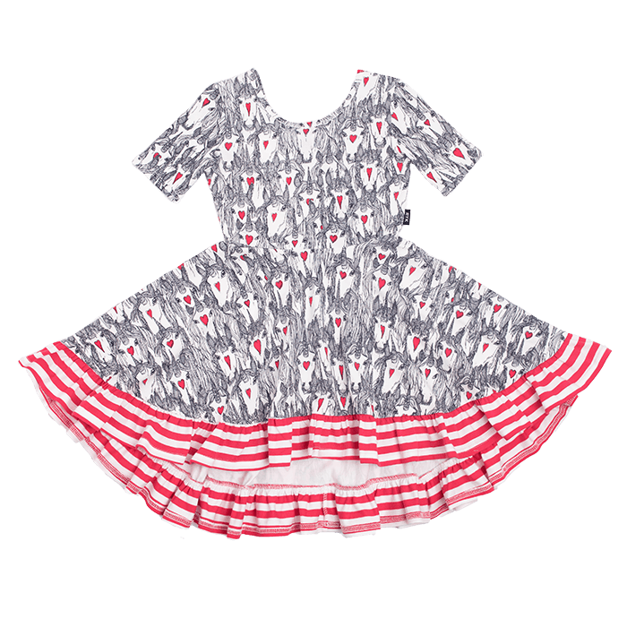 Rock Your Kid CREAM UNICORN LOVE Waisted Frill Dress
