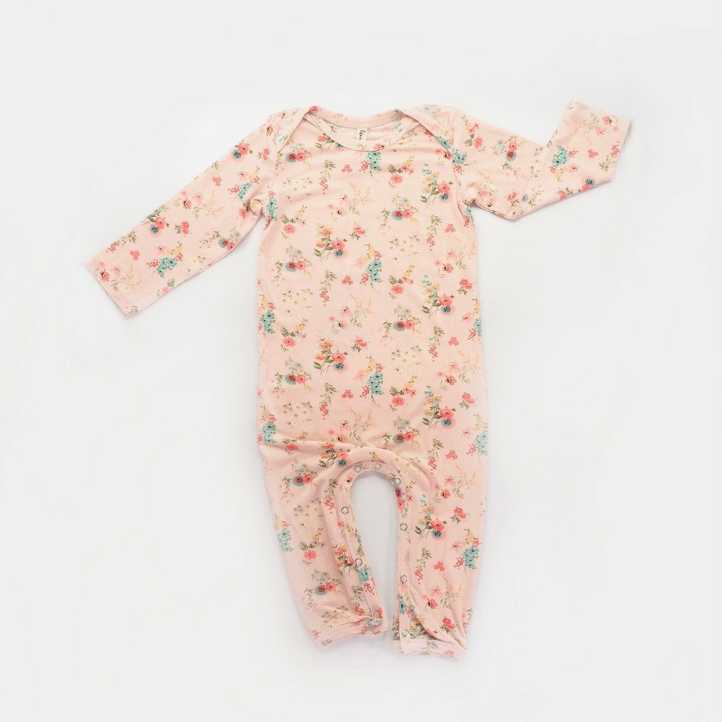 Island State Co - Floral LS Onesie Pink