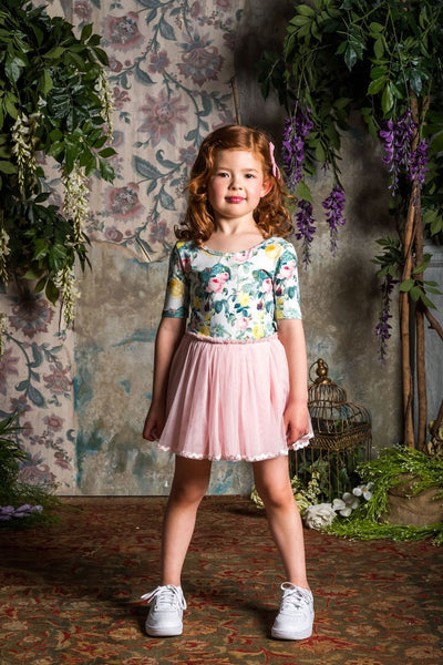 Rock Your Kid BLUE A ROSE IS A ROSE Short Sleeves Circus Dress